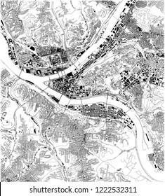Satellite map of Pittsburgh, Pennsylvania, city streets. Street map, city center. Usa