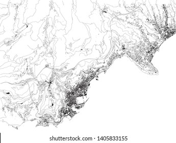 Satellite map of principality of Monaco, Monte Carlo. Fontvieille, Monaco-Ville, La Condamine. Map of streets and buildings of the town center. Europe