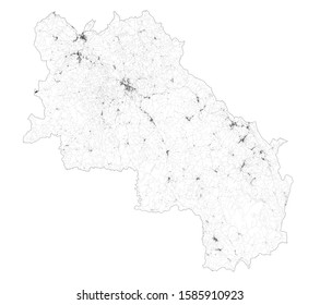 Satellite map of province of Siena, towns and roads, buildings and connecting roads of surrounding areas. Tuscany, Italy. Map roads, ring roads