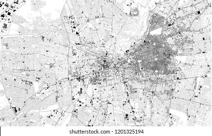 Satellite map of Santiago de Chile, Chile city streets. Street map, city center. South America