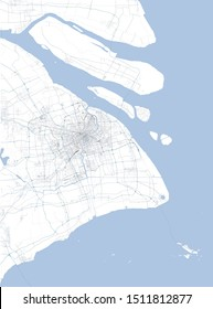 Satellite map of Shanghai and surrounding areas, People's Republic of China, Yangtze River Delta. Map roads, ring roads and highways, rivers, railway lines. Transportation map
