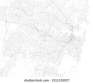 Satellite map of Sydney and surrounding areas,  Australia. Map roads, ring roads and highways, rivers, railway lines. Transportation map