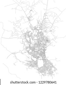 Satellite map of Sana'a, Yemen, city streets. Street map and map of the city center