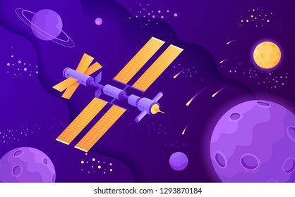 Satellite science stations in the open space flat vector illustration