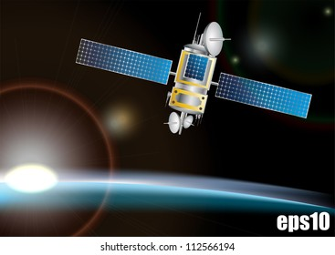 Satellite in space background eps10