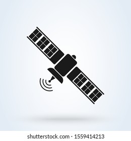 satellite and Space station. Simple vector modern icon design illustration.