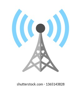 satellite tv or radio antenna aerial illustration, communication tower - telecommunications icon
