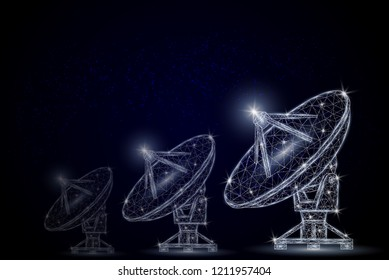 Satellite tv and radio signals receiver parabolic antenna low poly wireframe mesh made of points, lines and shapes. Vector polygonal art style illustration. Telecommunications equipment poster.