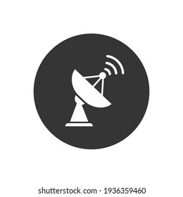 Satellite vector white icon, wireless satellite icon sign
