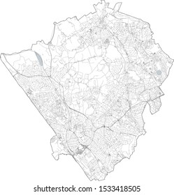Satellite view of the London boroughs, map and streets of Barnet borough. England