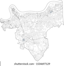 Satellite view of the London boroughs, map and streets of Greenwich borough. England