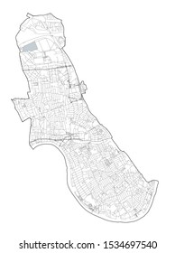Satellite view of the London boroughs, map and streets of Hammersmith and Fulham borough. England
