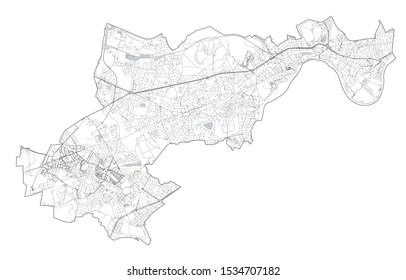 Satellite view of the London boroughs, map and streets of Hounslow borough. England
