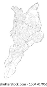 Satellite view of the London boroughs, map and streets of Kingston upon Thames borough. England
