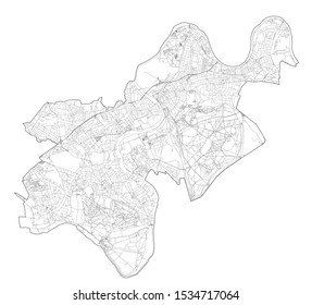 Satellite view of the London boroughs, map and streets of Richmond upon Thames borough. England