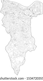 Satellite view of the London boroughs, map and streets of Southwark borough. England