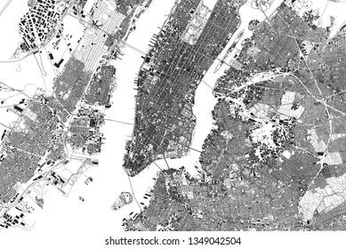 Satellitensicht auf die Stadt New York, Karte, Gebäude. Straßen und Wolkenkratzer von Manhattan, Brooklyn und Queens. Jersey Stadt. USA