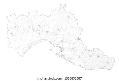 Satellite view of the Taranto province, map and streets. Puglia, Italy. Map of transports in the Puglia region, Italy. Ilva