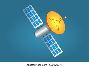 Satellites in cartoon style with yellow dish aerial on blue background. Wireless networks spread from Earth to space. Flying sputnik with dish antenna. Space symbol earth symbol flat design style.