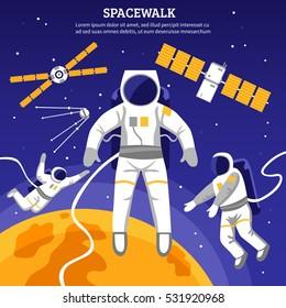 Satellites and three astronauts having spacewalk flat vector illustration