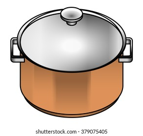 A satin copper cooking pot - for pasta, stock and soup.