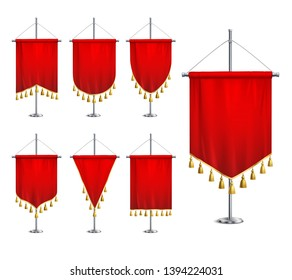 Satin red various shapes pennants with golden tassel fringe on steel spire pedestal realistic set vector illustration