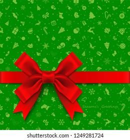 Satin Ribbon Bow over Holiday Background
