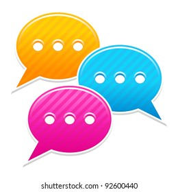 Satin sticker chat room icon. Yellow, blue and pink colored web button. Striped speech bubbles shape with shadow on white background. This vector illustration saved in 10 eps