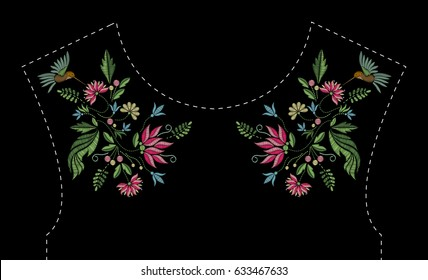 Satin stitch embroidery design with flowers and birds. Folk line floral trendy pattern for dress neckline. Ethnic fashion ornament for neck on black background.