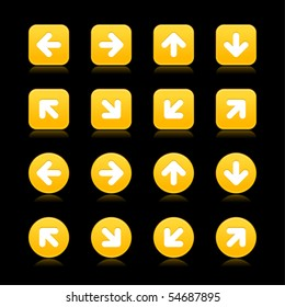 Satin yellow web 2.0 arrow symbol button. Round and square shapes with reflection on black background