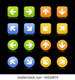 Satined web 2.0 button with arrow symbol. Colored square and round shapes with shadows and reflections on black background