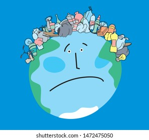 Satirical drawing of a sad planet Earth with a haircut in the form of garbage. Ecological problems. Vector full color graphics