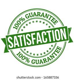 Satisfaction grunge rubber stamp on white, vector illustration