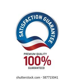 Satisfaction Guarantee blue ribbon label logo icon