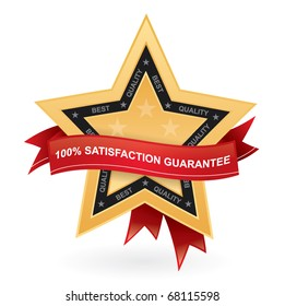 Satisfaction guarantee promotional vector sign - gold star with red ribbon