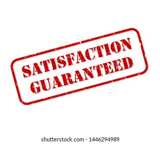 Satisfaction guaranteed red rubber stamp vector isolated