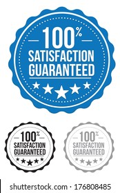 satisfaction guaranteed seal. stamp. blue. vector. set.