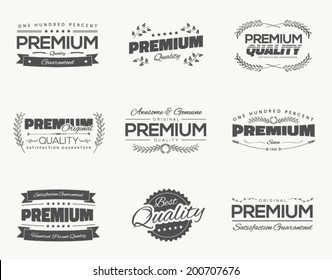 Satisfaction guaranteed vintage premium quality black vector labels and badges set and collection isolation.