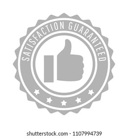 Satisfaction guaranteed word, thumbs up or like and five star symbol on circle jagged edge badge vector. Minimalist style, gray and white color.