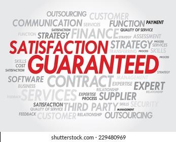 Satisfaction Guarantees concept in word tag cloud, vector concept