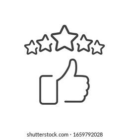 Сustomer satisfaction icon. 5 stars reputation line icon with thumb up. Quality review with feedback template. Customer reputation concept vector illustration isolated on white background. EPS10