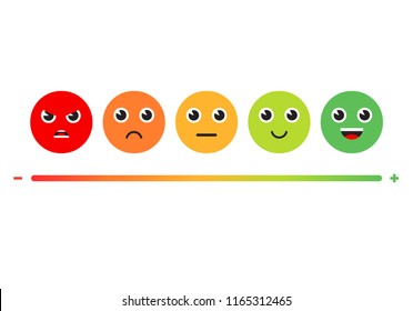 Satisfaction Rating. Set of Feedback Icons in form of emotions. Excellent, good, normal, bad, awful. Vector illustration.