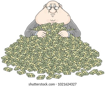 Satisfied businessman with his profit, on a heap of money