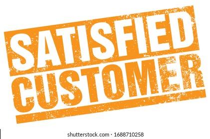 Satisfied Customer. Vector Yellow Stamp.