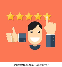 Satisfied customers concept. Colorful flat design icon.  Vector illustration