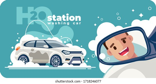 Ein zufriedener und glücklicher Kunde lächelt im Rückspiegel des Fahrzeugs und hinterlässt in einem sauberen weißen Auto von der Autowaschanlage. Sein Transport wurde mit Schaumwasser gewaschen.