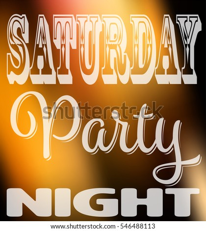 Saturday Party Night Quote Square Card Stock Vector Royalty Free