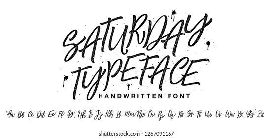 Saturday Typeface. Lettering font isolated on white background. Texture alphabet. Vector logo letters.