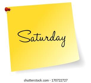 Saturday Yellow Sticky Note