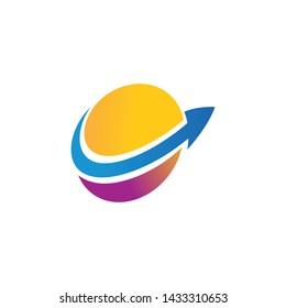 saturn logo template design illustration